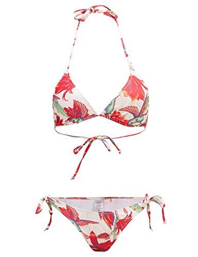 (SSLR Women's Halter Swimwear Printed Two Piece Bikini Sets (Large(12-14), Off-White))