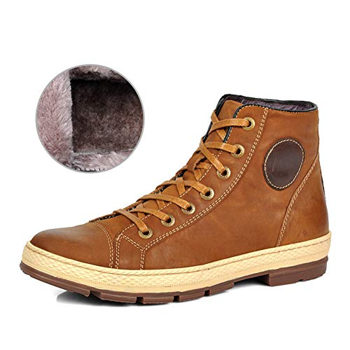 Hugelucky SCRENE Men's Leather Lace-Up Retro Design Casual Snow Warm Boots (10 D(M) US, Yellow with ()