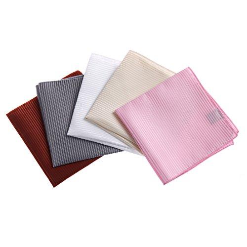 DEIA0004 Designer Stripes Microfiber Birthday Gifts for Mens Hanky Set 5 Hankerchiefs Set-Pink, Dark Orange, Grey, Beige, White By Dan Smith by Dan Smith (Image #7)