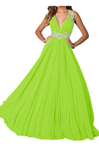 Lang Ivydressing Jaegergruen Rueckenfrei Festkleid Applikation V Damen Promkleid Chiffon Sexy Abendkleid Spitze Ausschnitt xIrx8q67w