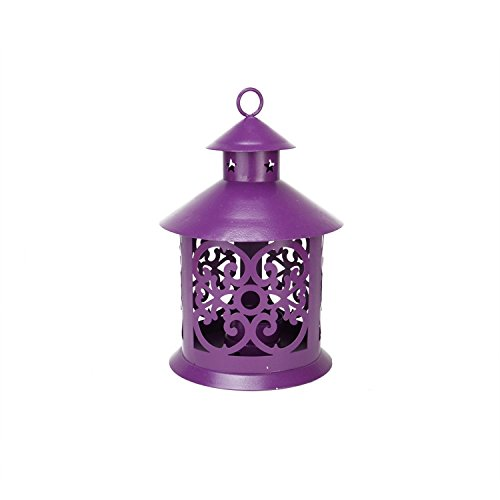 Northlight  Shiny Purple Votive or Tea Light Candle Holder Lantern with Star and Scroll Cutouts, 8