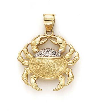 14k Yellow Gold Diamond Crab Pendant ()