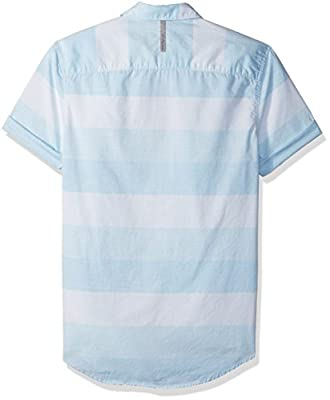 Calvin Klein Jeans Men's Short Sleeve Heather Horizontal Stripe Button Down Shirt