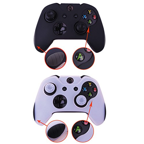 Cheap Pandaren Soft Silicone Thicker Skin Cover for Xbox One Controller Set (skin X 2 + Thumb Grip X 4)(Black,White)