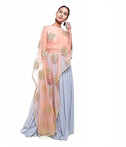 fa0fe12e06 Pushp Paridhan Women's Anarkali Salwar Suit Set (PPD-07_Peach &  Grey_S_Peach ...