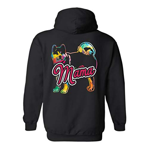 Akita Mama Hooded Sweatshirt, Long Sleeve Hoodie Black,L ()