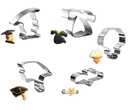 ie Cutters Mini Grad Cap, Gown, Diploma, Bouquet, Male, Mold Set, Pack of 5pcs ()