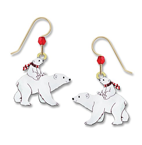 Sienna Sky UV-Printed Polar Bear and Cub with Holiday Scarf Dangle Earrings 1975 - Spirit Halloween New Orleans