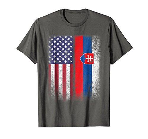 Mens Slovak American Flag T-shirt Slovakia Usa Medium -