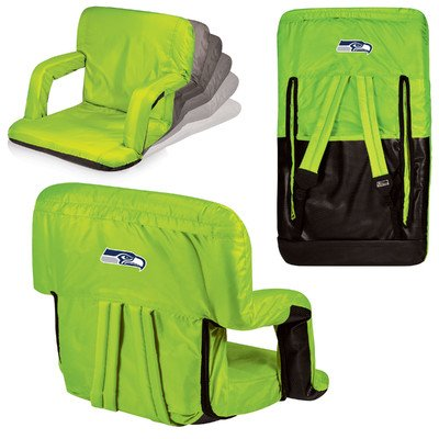 Picnic Time NFL Seattle Seahawks Reclining Ventura Seat- Lime - Digital Print by PICNIC TIME