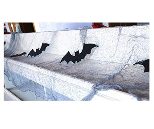 Halloween Decoration Bats Cobwebs Black Windows Cover Gauze Creepy Fireplace Mantle Scarf Cover for Halloween Indoor & Outdoor Decor by Lucky Shop1234