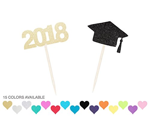Graduation Cupcake Toppers - Set of 12 - Cap & 2017 or 2018 - Any Color