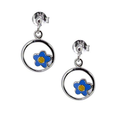 SL de Silver Niños Pendientes Círculo Flor Azul 925Plata En Caja De Regalo