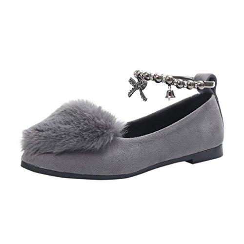 OverDose Damen Leicht Weich Slip on Sliders Flauschige Faux Pelz Flache Pantoffel Flip Flop Single Schuhe A-Gray