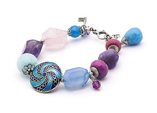 Amethyst Rose Quartz Agate Gemstone Oxidized Sterling Silver 925 Key Charm Bracelet