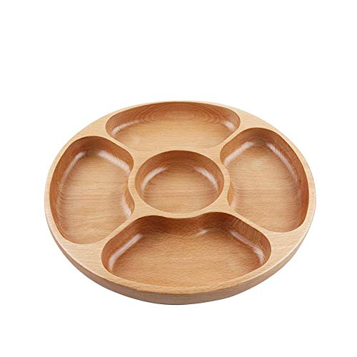 Wooden Appetizer Server Dish - Household Five intervals Round Plate, Divided Serving Tray for Appetizer Snack Salad Dry Fruit Plate Candy (10 Inches) ()