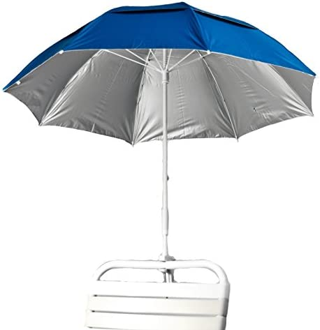 3' Deluxe Fiberglass Clamp Beach Umbrella Color: Pacific Blue/Silver