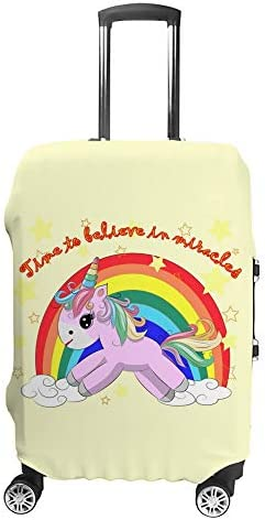 スーツケースカバー トラベルケース 荷物カバー 弾性素材 傷を防ぐ ほこりや汚れを防ぐ 個性 出張 男性と女性かわいいピンクのユニコーンと虹