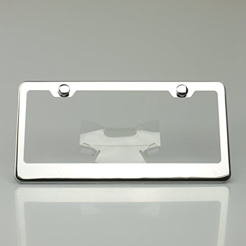 Chrome 100% Stainless Steel Polish Mirror License Plate Frame Holder Tag w/ Chrome Cap - License Tag Frame