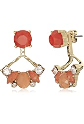 """Napier """"Sun Kissed Coral"""" Gold-Tone and Orange Multi-Floaters Earrings"""