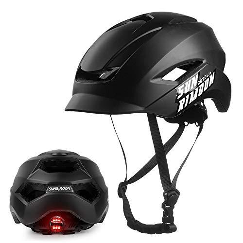 SUNRIMOON Adult Bike Helmet for Urban Commuter, Unibody Design Bicycle Cycling Helmet Adjustable Regulator with Tail Light, Lightweight Biking Helmets for Men/Women, 22.44-24 Inches - Black