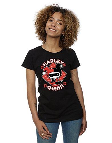 DC Comics Women's Chibi Harley Quinn Badge T-Shirt Large Black]()