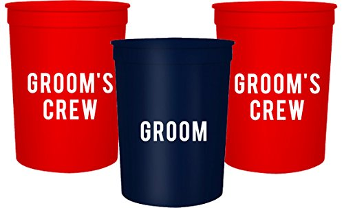 Groom and Grooms Crew Bachelor Party Cups, Set of 12 Blue and Red 16oz Stadium Cups, Buy Him A Beer The End is Near, Perfect Bachelor Party Decoration (Blue)