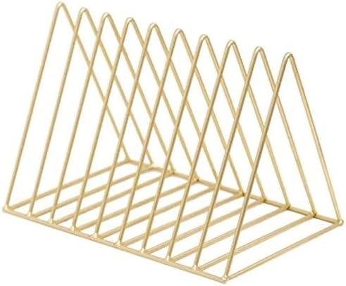 Nologo Datei-Shelf Metall Magazine Rack File Organizer Schreibtisch Dreieck Akten-Halter Metall-Draht-Organisator for Office Home-Dekor-Datei Racks (Farbe: Gold, Größe: 26X17.8X18.5CM)