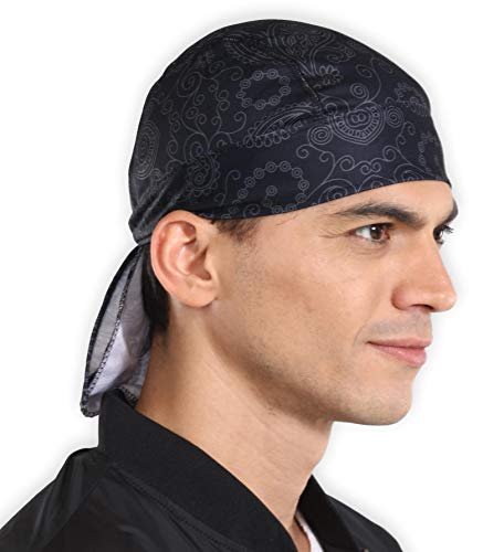 Sweat Wicking Cooling Helmet Liner - Do Rag Skull Cap Beanie for Men & Women. Pirate Hat Bandana & Head Wrap for Motorcycling, Running, Hiking, Cooking & Outdoor Activities. Stretchy & Breathable Mesh -