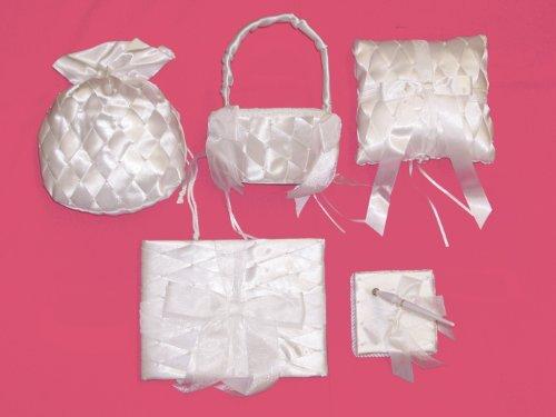 Ivory Satin Criss Cross Design Flower Basket, Guest Book, Pen, Ring Pillow & Money Bag Bridal Accessory Set(800SET2) (Money Pillow Bag Wedding Ring)