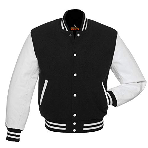 (Men's Varsity Jacket Genuine Leather Sleeve and Wool Blend Letterman Boys College Varsity Jackets (Black/White, Large))
