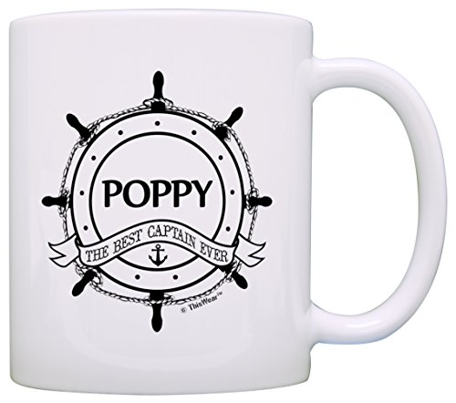 (Father's Day Gift for Grandpa Poppy Best Captain Ever Nautical Gift Coffee Mug Tea Cup White)