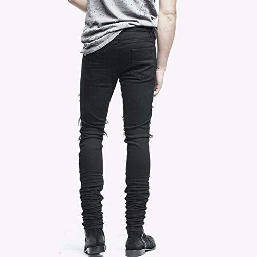 Nero Strappati Jeans Elasticizzati Con Especial Denim Da Skinny E Nudi Bobo Uomo 88 Casual Estilo Pantaloni Aderenti 5CKqwyXa