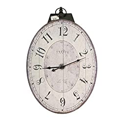 Benjara BM196306 Distressed Oval Shape Wooden Wall Clock with Ring Hanger, White and Black