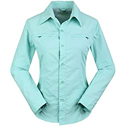 Quick Dry Shirt, ADiPROD Women's Water Repellent Lightweight Sun UV Protection Convertible Long Sleeve Hiking Climbing Camping (L, Blue)