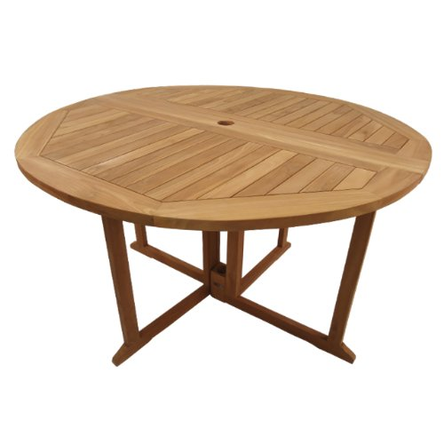 Table pliante ronde en teck Ecograde Domingue ø 120 cm: Amazon.fr ...