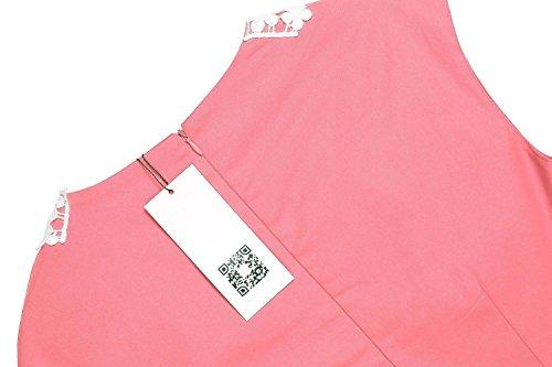 Vintage 50 Vestido Falda Vestidos Años Mujer de Floral Sin Acevog Mangas Fiesta 1 Impresión Rosa SC5qx