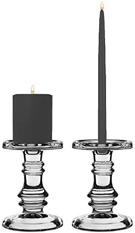 CYS EXCEL Clear Glass Candle Holder D 4.5″ H 6.5″ 2 PCS | Multiple Size Choices Pillar Taper Candle Holders | Wedding Centerpieces Candlestick Holders