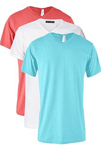TOP LEGGING TL Men Casual Basic Short Sleeve Tri-Blend/100% Cotton V-Neck T Shirt RVNKSET3_Turq_COR_WH M