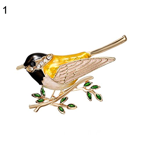 dds5391 Women Bird Branch Rhinestones Brooch Pins Badge Suits Dress Decor Jewelry Gifts
