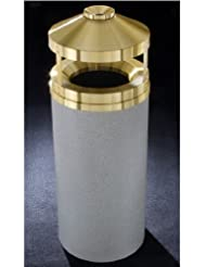 Glaro Canopy Top Wastemaster With Built In Cigarette Receptacle 16 Gal 15 Inch Dia X 39 Inch H Satin Brass Cover Desert Stone Finish Shown Not Available