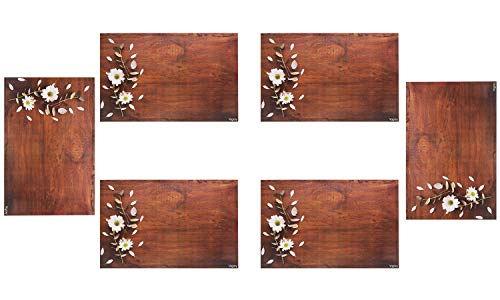 Vagary PVC Printed Water-Proof and Heat-Proof Table Placemat (Multicolor, Pack of 6) (Brown) – VAGA6043