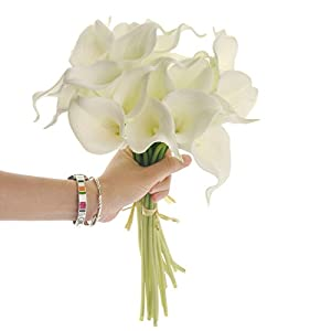 VORCOOL Elegant Real Touch Artificial PU Calla Lily Flower Bouquets Bridal Wedding Bouquets - 20 pcs/bundle (White) 72