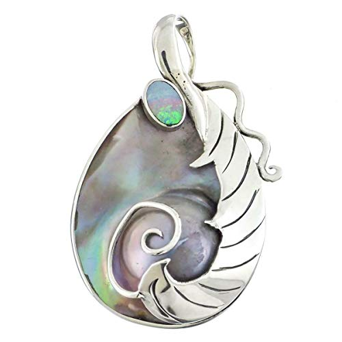 - 1 11/16'' Australian Natural Opal MABE Pearl 925 Sterling Silver Pendant YE-936