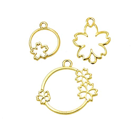 Monrocco 12Pcs Cherry Flower Open Back Bezel Pendant, Open Back Bezel Charms Open Back Frame for UV Resin Crafts Jewelry Making ()