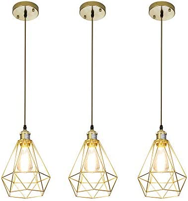 CA Modern Design 3 Lights Ceiling Lamp Cage Gold Pendant Light, Adjustable Hanging Pendant Lighting Fixture with Hollowed Out Metal Art Deco Lampshade 3-Pack
