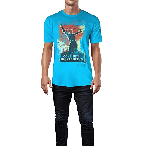 SINUS ART® Come Into the Factories Herren T-Shirts in Karibik blau Cooles Fun Shirt mit tollen Aufdruck