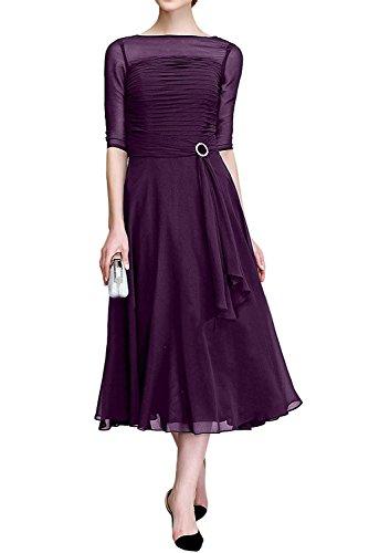 Royal Braut Elegant Blau Traube Brautmutterkleider La Abendkleider mit Langarm Chiffon Ballkleider Marie w1qEWZ5B