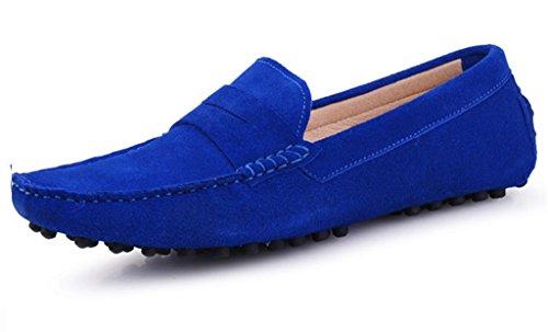 Crc Mens Mode Casual Komfort Slip På Hög Kvalitet Mocka Walking Kör Båt Skor Royalblue