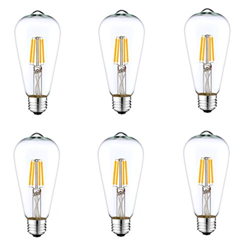 6 Pack DC 12V Nostalgic Warm White 3000K 6Watt LED Edison Filament ST64 Light Bulb E26 E27 Medium Base Lamp Low Voltage Landscape Outdoor Sconce Path Vintage Cage Pendant Lamp Antique Theater Lighting
